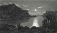 south american landscape in moonlight by ferdinand reichardt