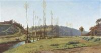 a quiet summer landscape by ernest emile armand-delille