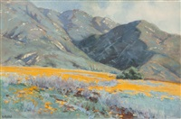 san gabriel mountains with poppies by elmer wachtel