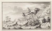 galleons foundering in a tempest by pieter idserts