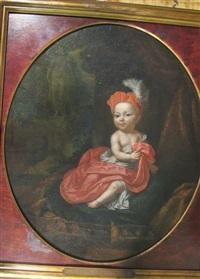 jeune prince assis de trois-quarts sur un coussin de velours, en habit et bonnet rouges, dans le jardin d'un palais by mattheus verheyden
