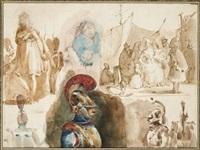 feuilles d'études avec cuirassiers et scènes de port (+ scène de port, verso) by nicolas toussaint charlet
