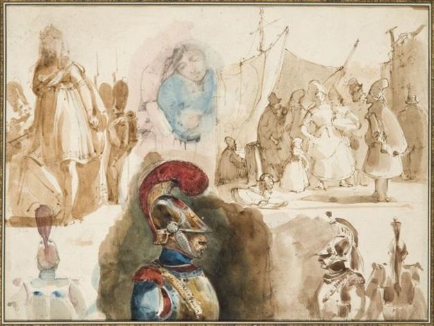 feuilles détudes avec cuirassiers et scènes de port scène de port verso by nicolas toussaint charlet