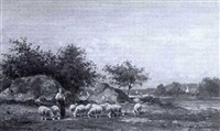 a drover and sheep in a country landscape by gaston ernest lafenestre