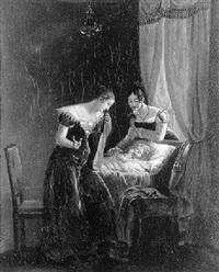 jeune femme au pied du berceau d'un nouveau-né by charles fournier