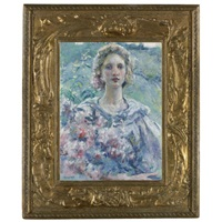 girl with flowers by robert reid