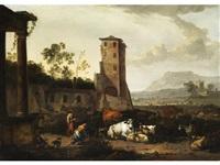 fantasielandschaft mit antiken ruinen und hirtenidylle by johannes van der bent