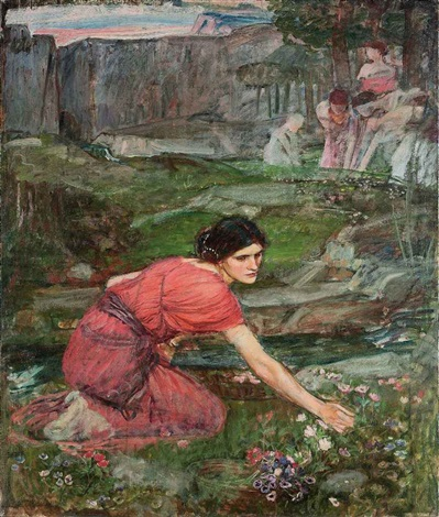 maidens picking flowers by a stream study by john william waterhouse