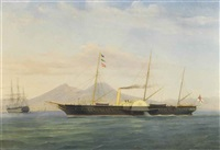 the royal yacht victoria and albert, in the bay of naples by a. de simone