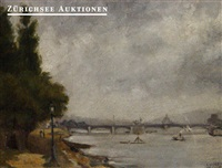 view of the quai du point du jour on the pont de grenelle by léon michel maria jouenne