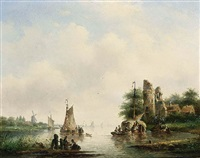 a summer landscape with boats on a river by cornelis petrus t' hoen