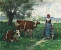 a milkmaid with her cows at pasture by julien dupré