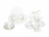 glass tea service (set of 24) by wilhelm wagenfeld