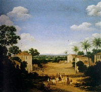 view of a group of buildings in brazil with townsfolk by frans jansz post