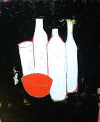 still life of red bowl and bottles by tj walton