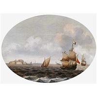 barcos frente al fuerte de rammenkens en middelburg by pieter cornelius verbeeck