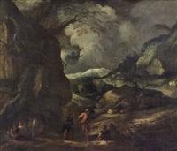 bûcherons dans un paysage by jacob de heusch
