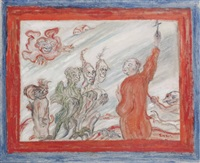 diables turlupinant un religieux by james ensor