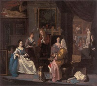 the interior of an artist's studio. with a lady having her portrait painted by josef van aken
