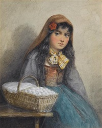 ready for market, a young girl with a basket by william mulready