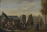 le marché aux légumes, le marché aux poissons (pair) by flemish school (17)