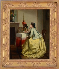 admiring her pet parrot by adolphe stache
