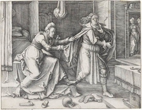 joseph escaping potiphars wife by lucas van leyden