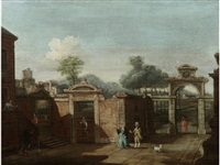 elegant figures in a courtyard, an italianate landscape beyond (+ and figures in a capriccio landscape, a hillside town in the distance; pair) by francesco battaglioli