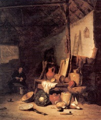 the corner of a barn with earthenware vessels, a cabbage  a copper pot and other kitchen implements by hendrik bogaert