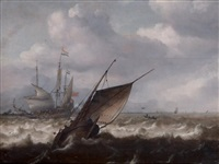 navire hollandais saluant par mer agitée by julius porcellis