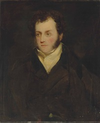 portrait of a gentleman, traditionally identified as lancelot archer-burton (1789-1852), bust-length, in a white cravat and black coat by john constable