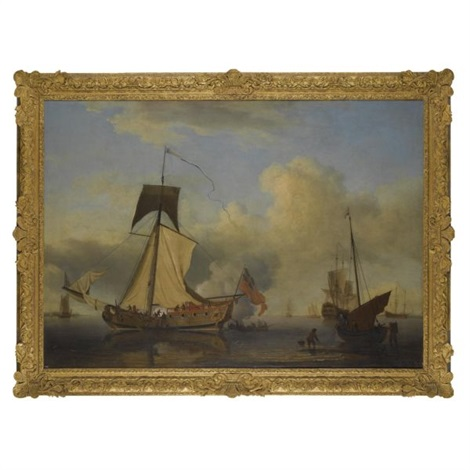 sir william courtenays sloop rigged yacht the neptune raising sail other shipping beyond by samuel scott