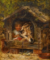 girl and dog in dog house by joseph henry sharp
