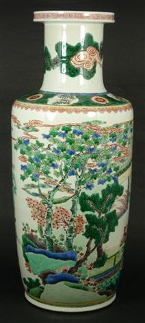chinese famille verte porcelain palace vase
