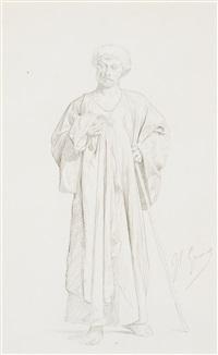 dessin préparatoire pour l'achat d'une esclave by jean-léon gérôme