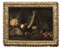 natura morta di ortaggi e frutta con cavolfiore, sedano gobbo, mele e uva by italian school-roman (17)