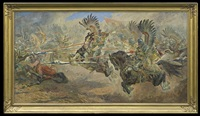 attack of the polish hussars by stanislaw batowski-kaczor