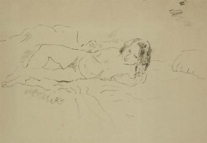 jeune fille allongée appuyée sur son bras et filles faisant la sieste recto verso by jules pascin