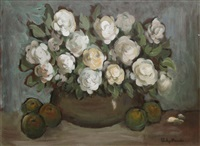 white roses and fruit by gladys maccabe