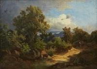 toscanskt landskap med vandrare by karoly marko the younger