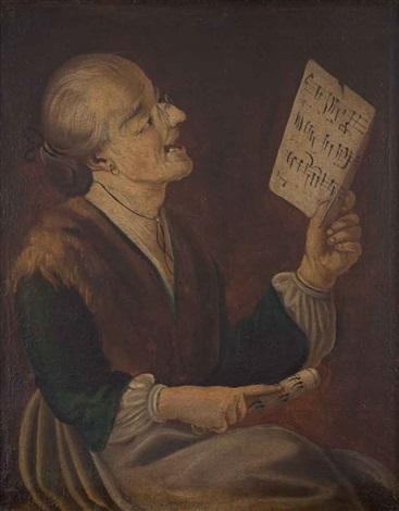 ritratto di donna che canta con spartito musicale (+ ritratto di giovane con tamburello; 2 works) by giacomo francesco cipper