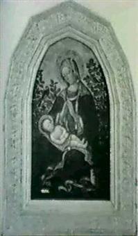 madone adorant l'enfant dans un jardin by francesco di gentile da fabriano