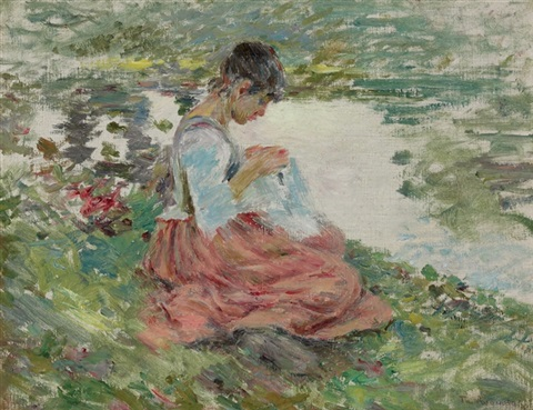 girl sewing by river by theodore robinson