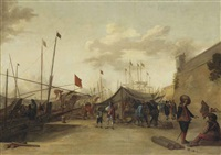 a mediterranean harbour with merchants at a market on the quay by johannes lingelbach