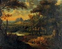 promeneurs dans un paysage by francisque (joseph f.) millet