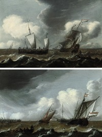 a dutch schooner, a man-o-war, and a fishing boat in stormy seas (+ dutch schooners and a landing skiff approaching the harbor; pair) by pieter coopse