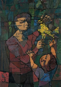 two figures and dove by john altoon
