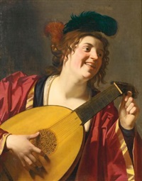 a woman tuning a lute by gerrit van honthorst