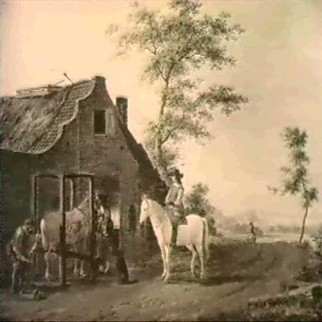 a cavalier outside a smithy by jordanus hoorn