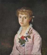 a portrait of a girl with a flower wearing a pink dress (the painter's sister) by vlacho bukovac